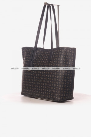 Borsa shopping Pollini Heritage donna logo all over nero
