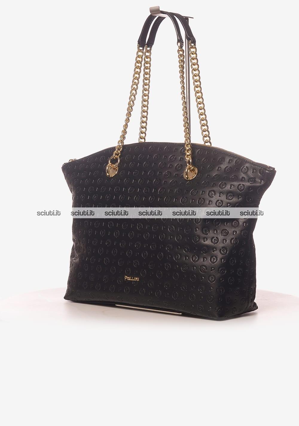 0829b51b04 Borsa a spalla Pollini Heritage donna catena logo all over nero ...
