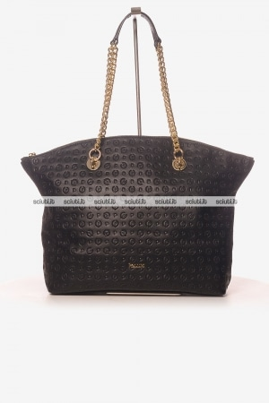 Borsa a spalla Pollini Heritage donna catena logo all over nero