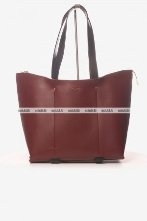 Borsa shopping grande Pollini donna bordeaux interno bianco