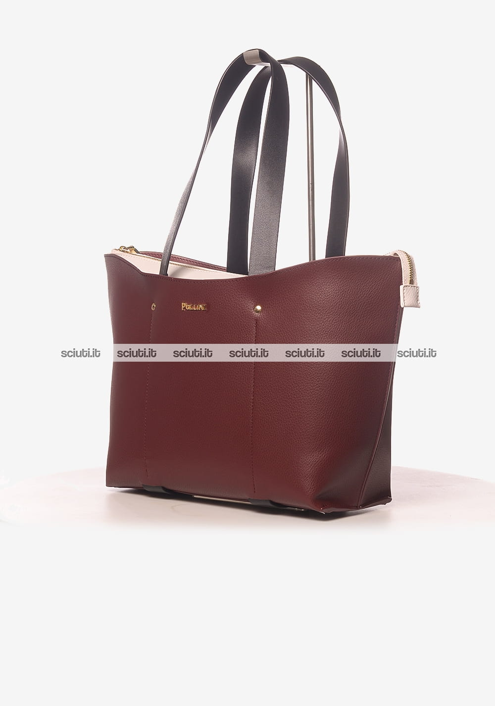 258cfa0114 Borsa shopping media Pollini donna bordeaux interno bianco | Sciuti.it