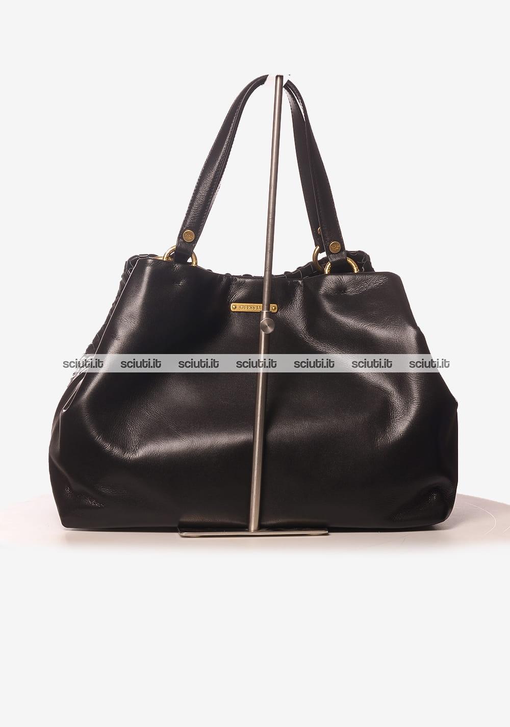 3a0cba681b Borsa shopping grande Guess Luxe donna Lola in pelle intrecciata nero