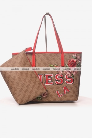 Borsa shopping Guess donna Vikki logo ricami rose
