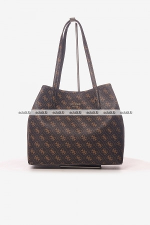 Borsa shopping Guess donna Vikki logo all over marrone