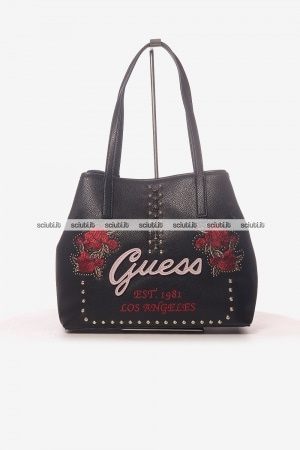 Borsa shopping Guess donna Vikki nero ricami rose