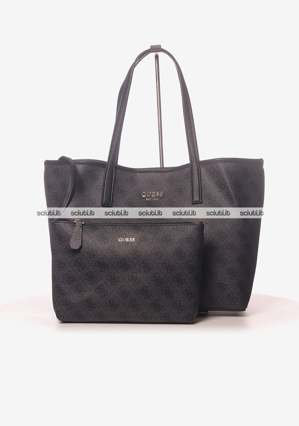 Borsa shopping Guess donna Vikki logo all over nero