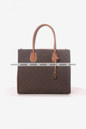 Borsa a mano Michael Kors donna Mercer grande in pelle logo all over marrone