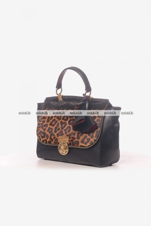 Borsa a mano Guess Luxe donna Glory in pelle animalier nero