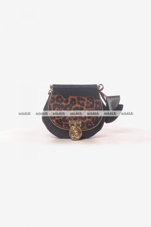 Borsa tracolla Guess Luxe donna Glory in pelle animalier nero