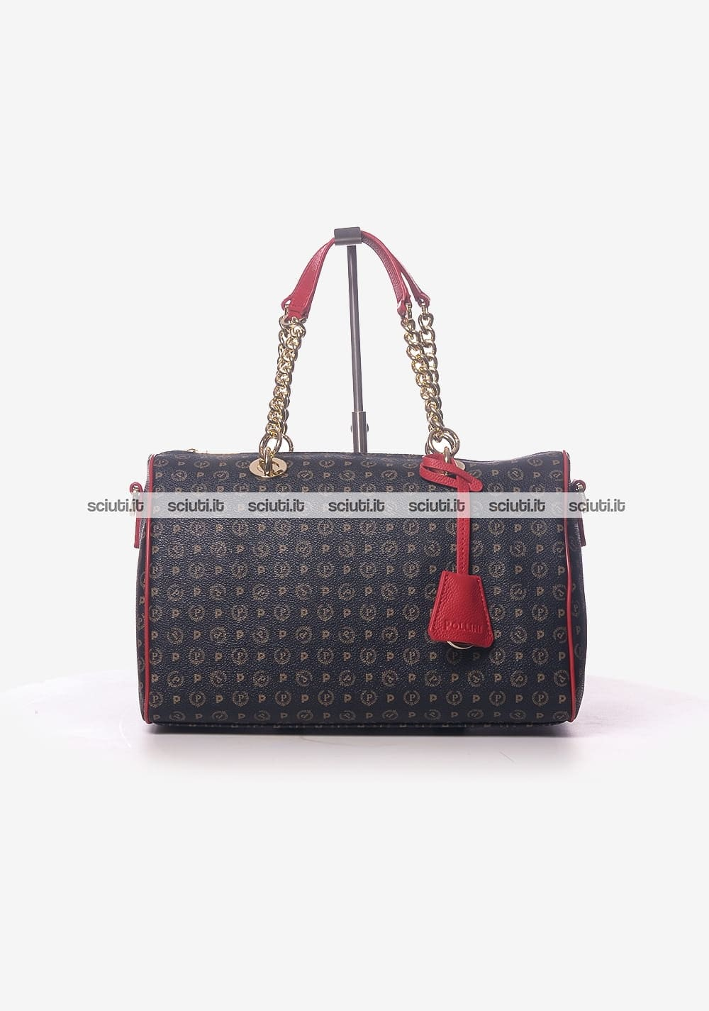 Borsa bauletto Pollini Heritage donna logo all over rosso