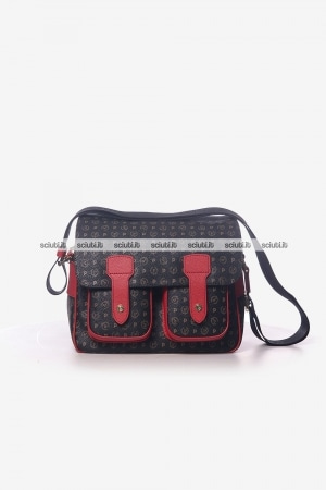 Borsa messenger media Pollini Heritage donna logo all over rosso