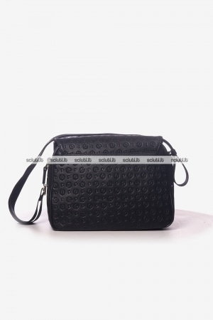 Borsa messenger Pollini Heritage donna logo all over nero
