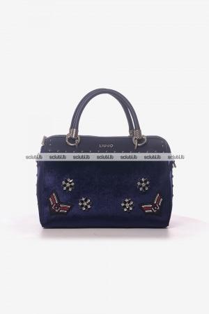 Borsa bauletto Liu Jo donna Darsena velluto blu royal 95a2dfcae69