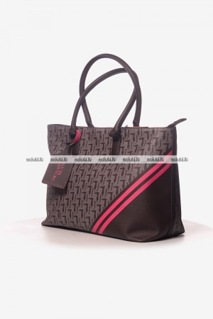 Borsa shopping grande Trussardi donna Vaniglia logo all over marrone