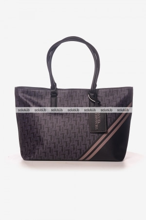 Borsa shopping grande Trussardi donna Vaniglia logo all over nero