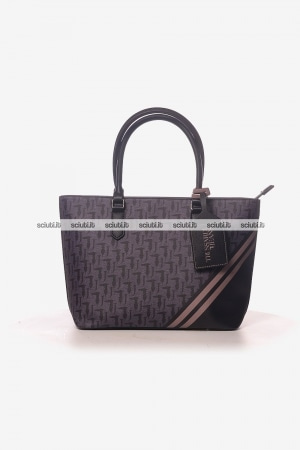 Borsa shopping Trussardi donna Vaniglia logo all over nero
