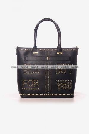 Borsa shopping Trussardi donna Paprica borchiette Be You nero