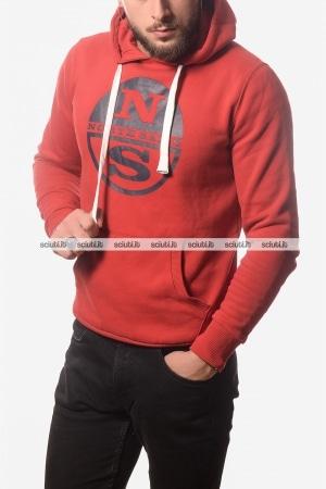 Felpa North Sails uomo con cappuccio maxi logo rosso 0288cd95f94