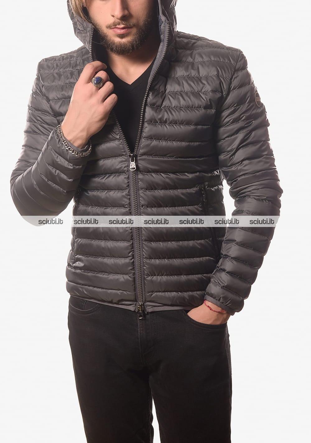 Piumino Colmar uomo leggero semiopaco con cappuccio grigio