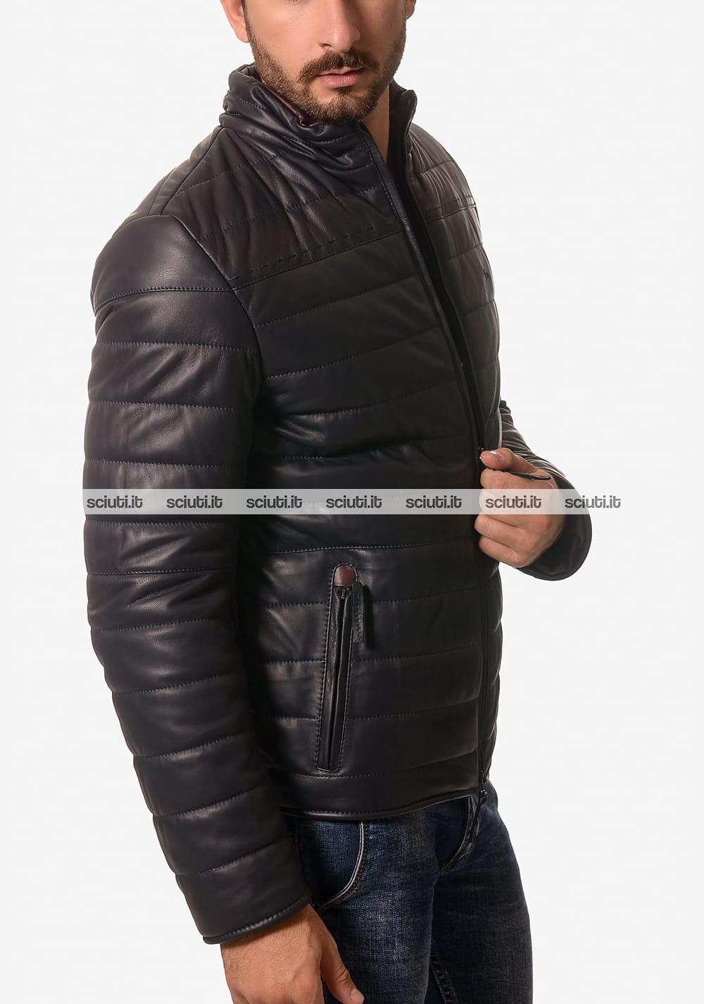 Giubbotto in pelle Harmont&blaine uomo biker blu scuro