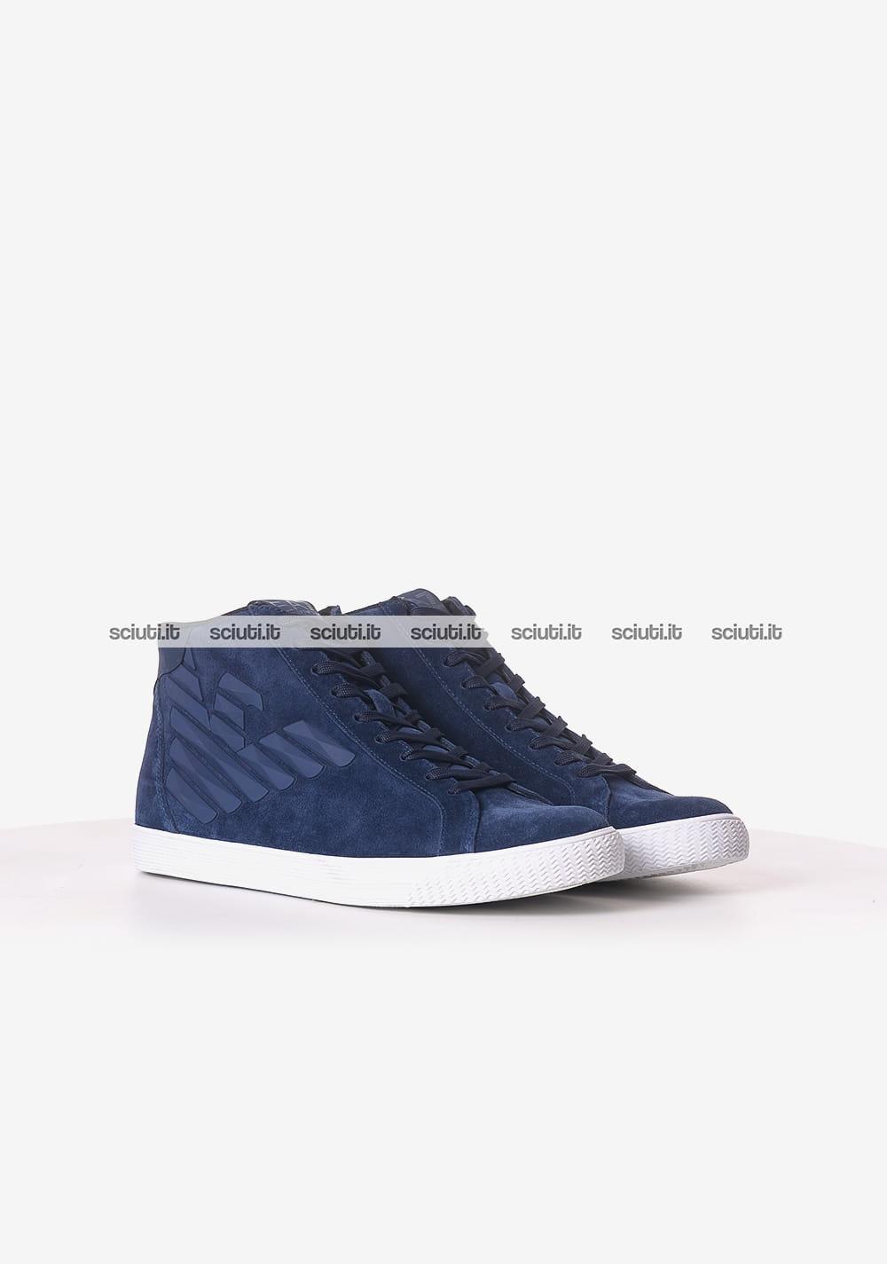 Alte Sneakers In Uomo Sciuti Blu Navy Emporio Logo it Armani Camoscio UUWdr7q1