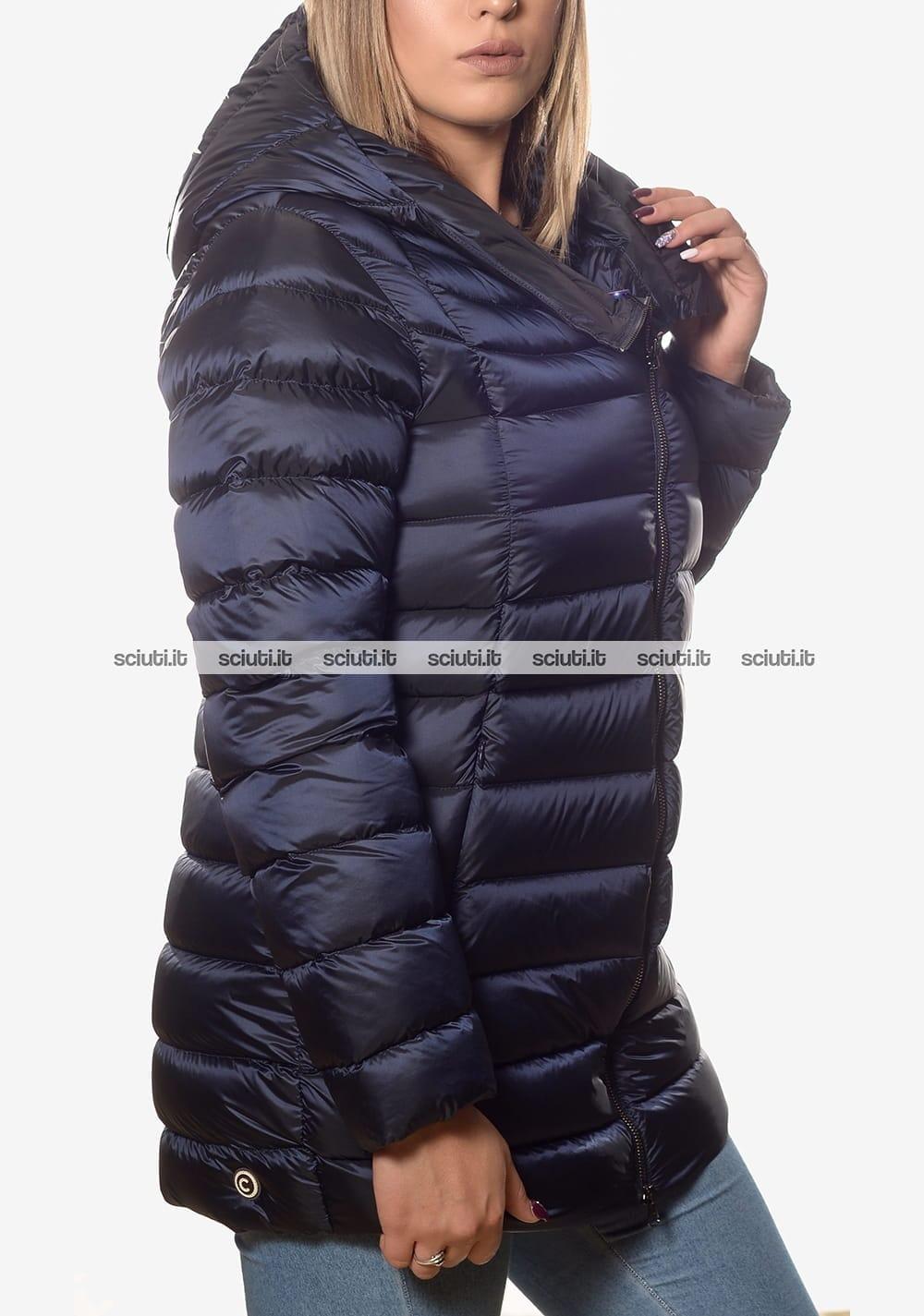 Piumino Colmar donna pesante asimmetrico con cappuccio blu