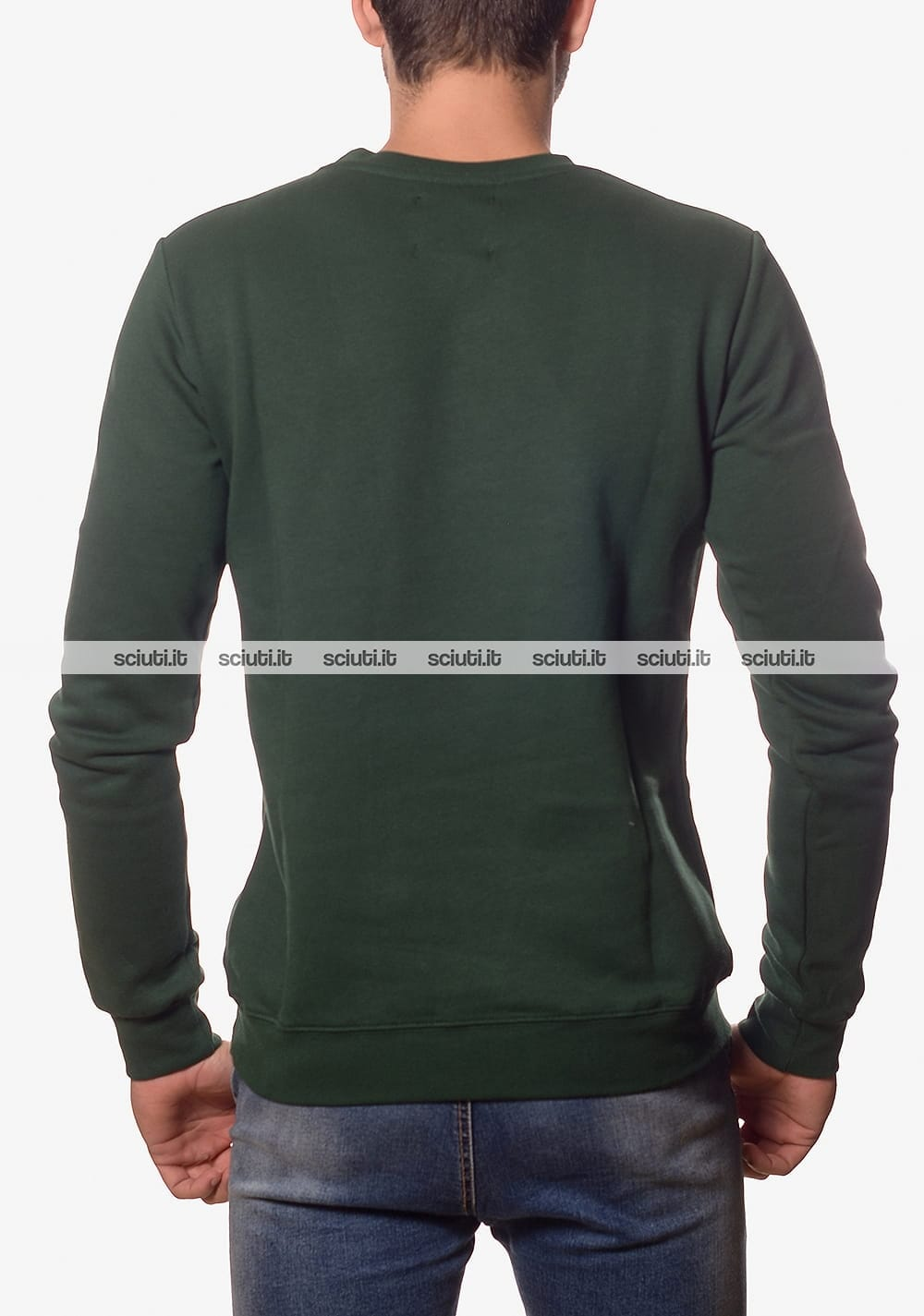 Felpa girocollo Pyrex uomo maxi logo verde scuro  01880b2b9319