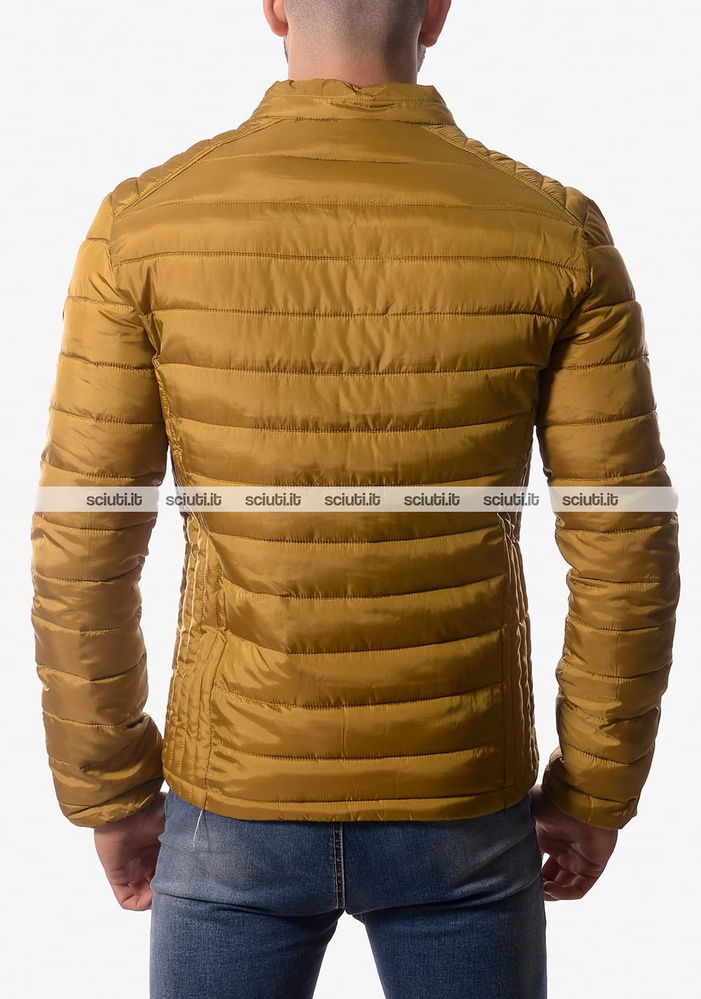new style e2090 96587 Piumino Guess uomo auricolari senza cappuccio giallo senape ...