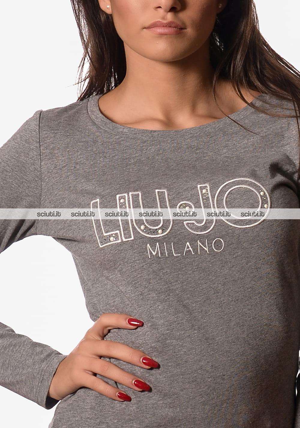 55bbaff2e181 Tshirt Liu Jo donna Carolina manica lunga logo grigio