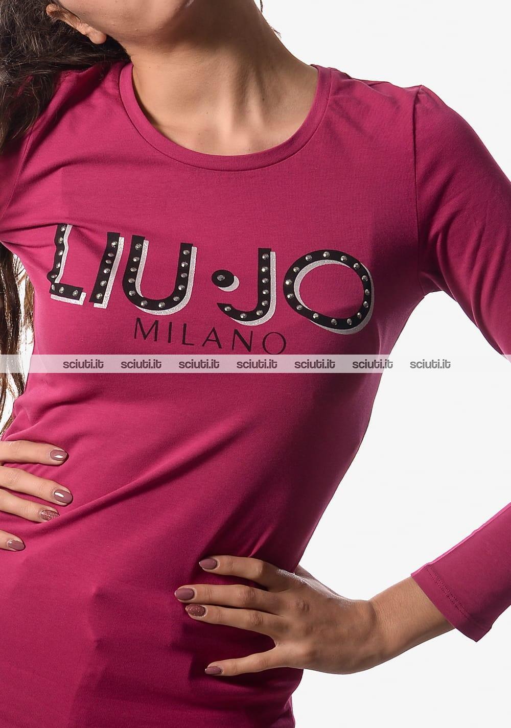 Tshirt Liu Jo donna manica lunga moda logo fucsia   Sciuti.it