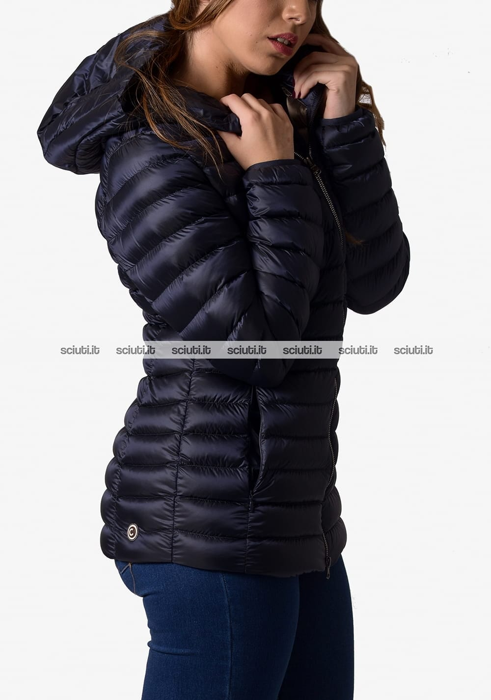official photos cc946 07bf3 Piumino pesante Colmar donna con cappuccio blu scuro