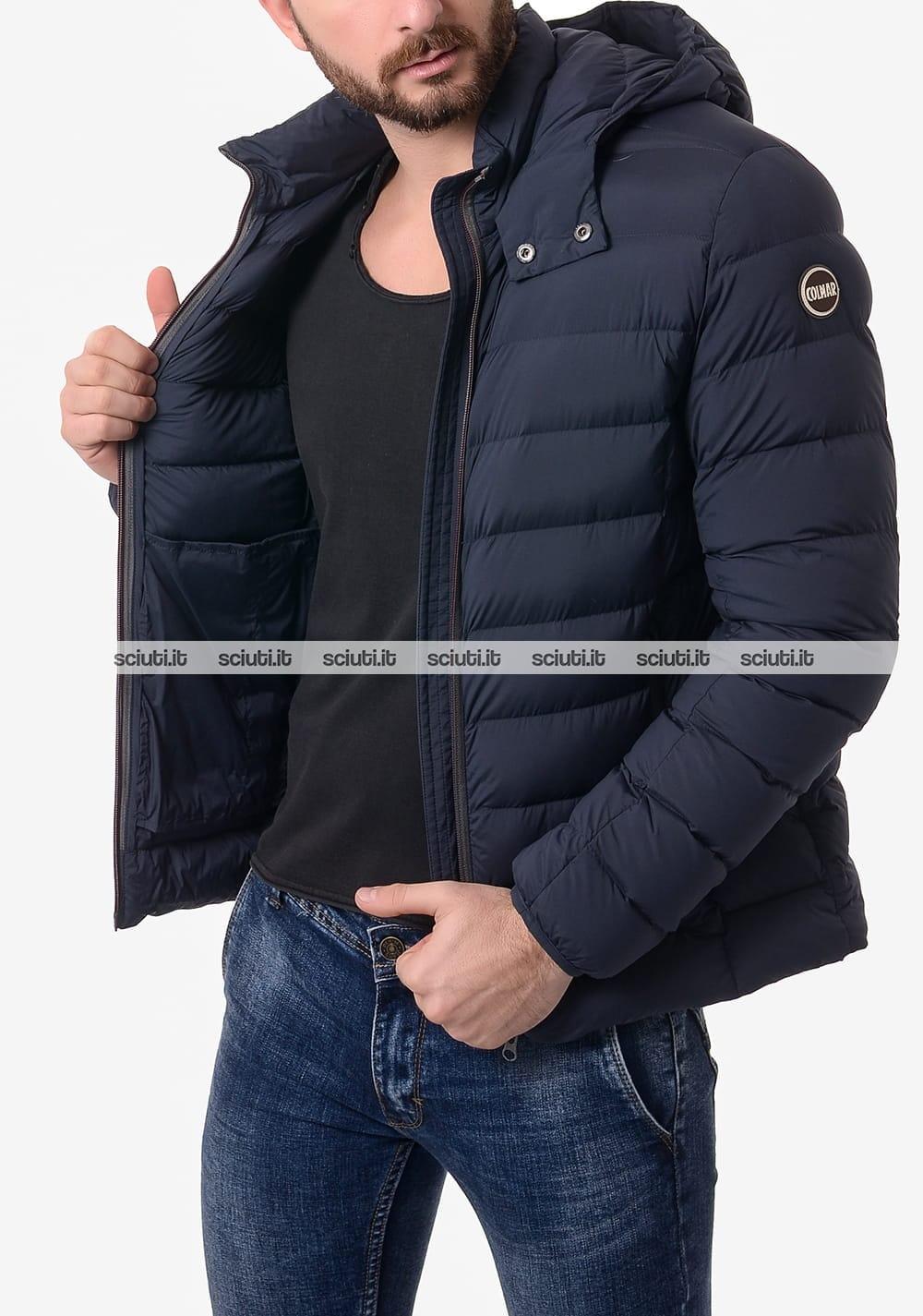 Giubbotto Colmar uomo stretch con cappuccio staccabile blu