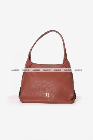Borsa hobo Trussardi donna Lavanda incrocio marrone