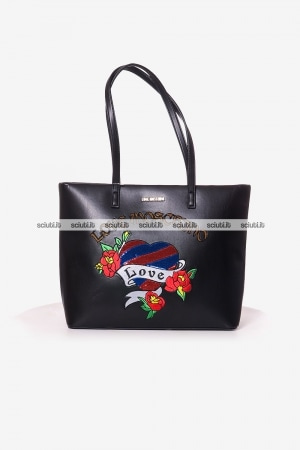 Borsa shopping Love Moschino donna patch paillettes nero
