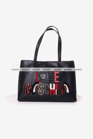 Borsa shopping Love Moschino donna ricamo logo nero