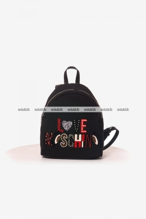 Zaino Love Moschino donna canvas ricamo logo nero