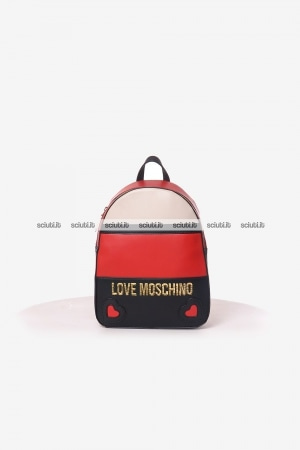 Zaino Love Moschino donna logo color block rosso avorio nero