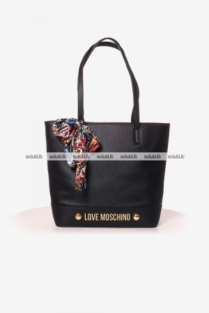Borsa shopping Love Moschino donna logo lettering metallo foulard nero