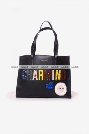 Borsa a spalla Love Moschino donna patch Charming nero
