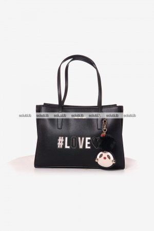 Borsa Love Moschino donna patch charm girly pom pom nero