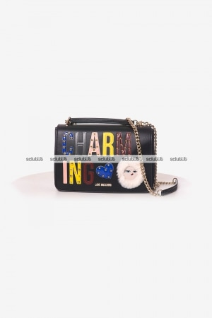 Borsa tracolla Love Moschino donna patch Charming nero