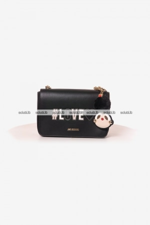 Borsa tracolla Love Moschino donna patch charm girly pom pom nero