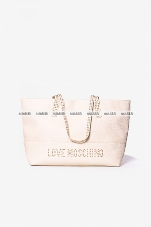 Borsa shopping Love Moschino donna logo borchiette avorio