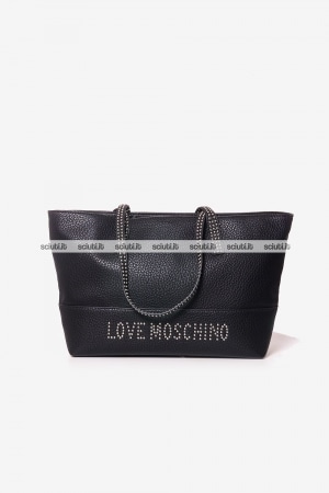 Borsa shopping Love Moschino donna logo borchiette nero