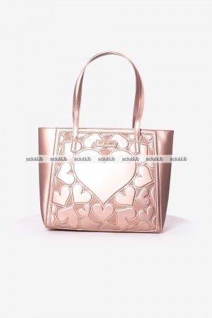 Borsa shopping Love Moschino donna cuori embossed rosa laminato