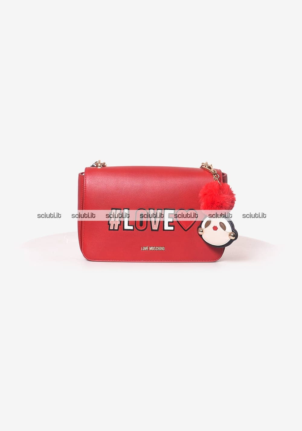 Borsa tracolla Love Moschino donna patch girly pom pom rosso