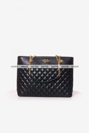 Borsa shopping Love Moschino donna logo trapuntata nero oro