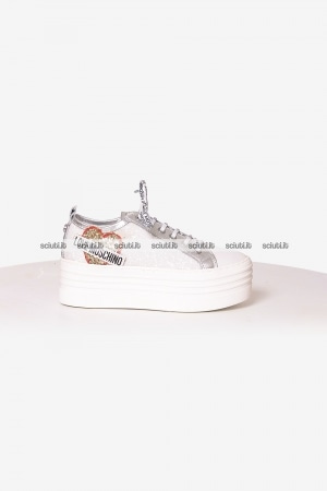 Scarpe Love Moschino donna platform patch logo glitter bianco