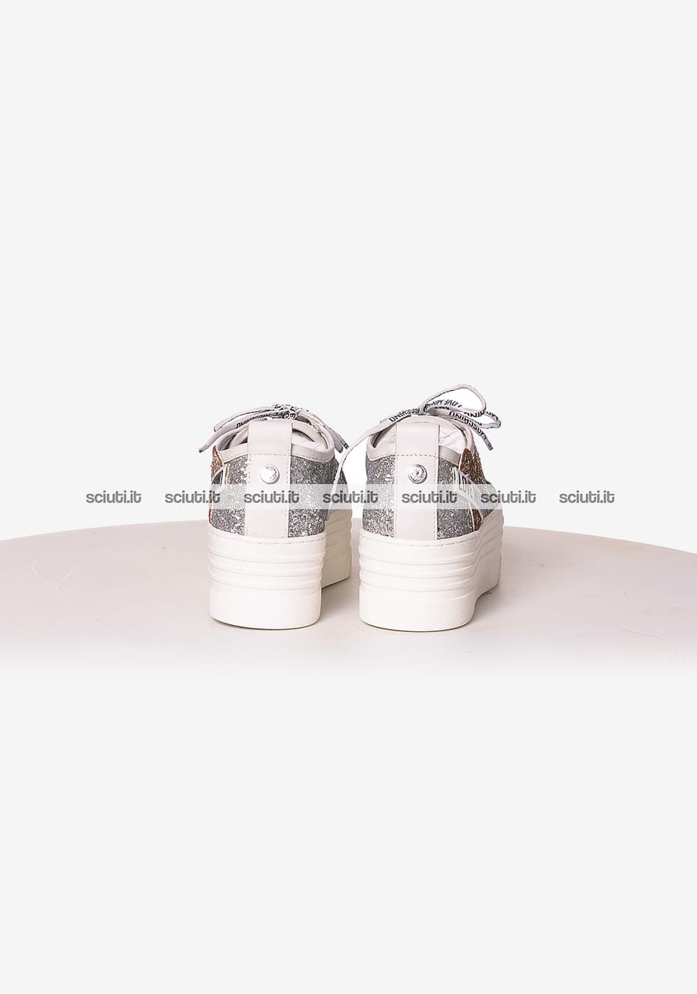 Scarpe Love Moschino donna platform patch logo glitter argento