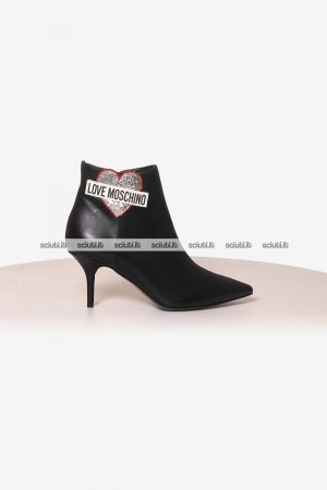 Stivaletto Love Moschino donna patch nero